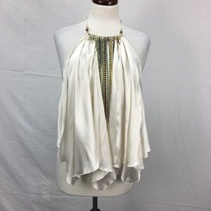 Rampage Eggshell Jewel Neck Backless Blouse